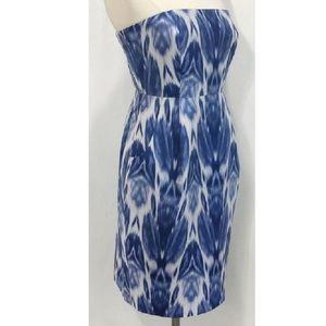 J Crew blue ikat strapless dress size 2